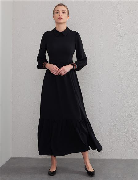 KYR Ruffled Long Dress A20 83015 Black