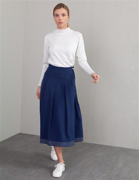 KYR Pleated Skirt with Pockets A20 72504 Navy