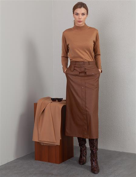 KYR Pocket and Button Detailed Skirt A20 72053 Camel