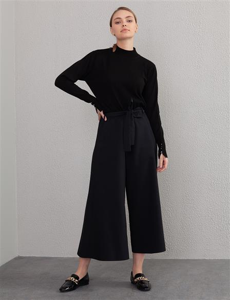 KYR Belted Wide Leg Pants A20 79558 Black
