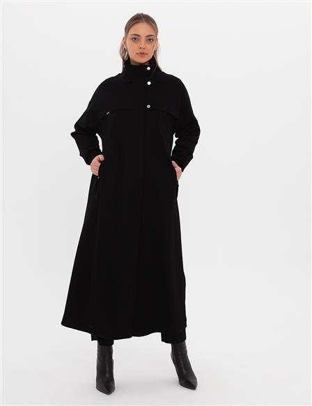 Snap Button Closure Trench Coat A20 25111 Black