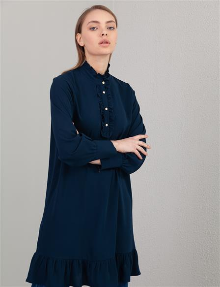KYR Frill Detailed Tunic A20 81567 Navy