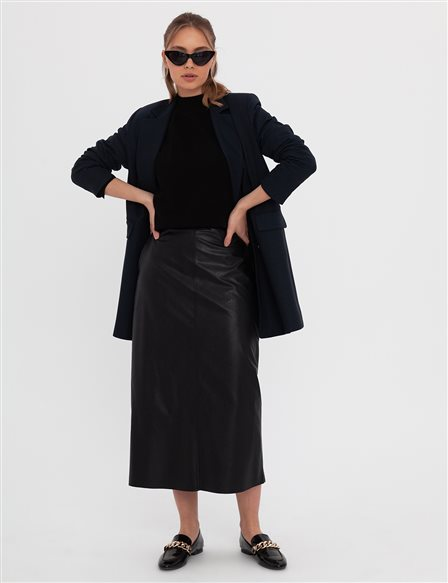 Leather Pencil Skirt A20 12047 Black