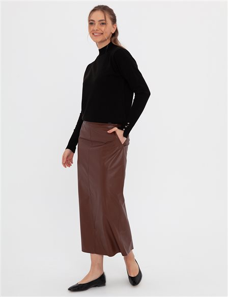 Leather Pencil Skirt A20 12047 Brown