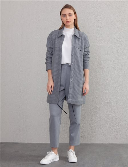 Gingham Jacket A20 13112 Grey