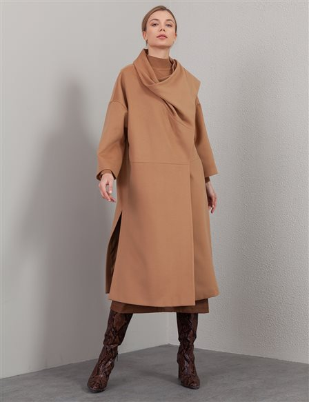 Shawl Collar Oversize Coat A20 17033 Beige