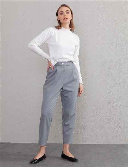 Pleated Carrot Pants A20 19236 Grey