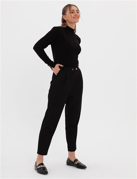 Pleated Carrot Pants A20 19236 Black