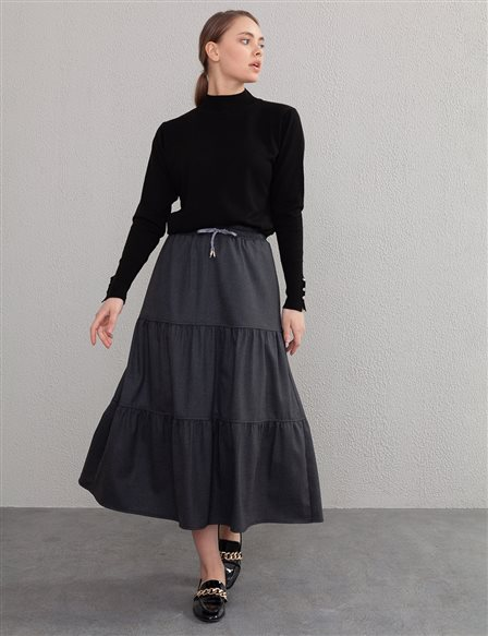 Split Ruffle Skirt A20 12062 Smoked