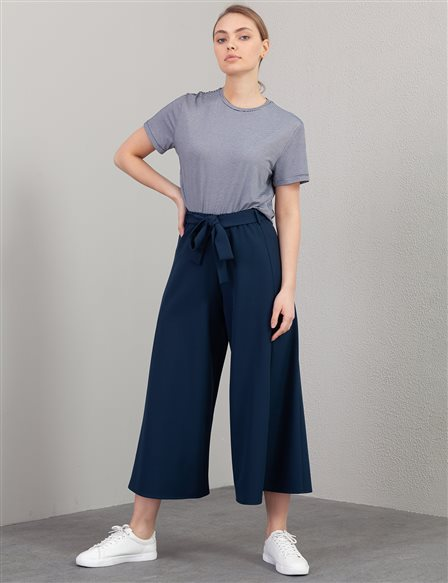 KYR Belted Wide Leg Pants A20 79558 Navy