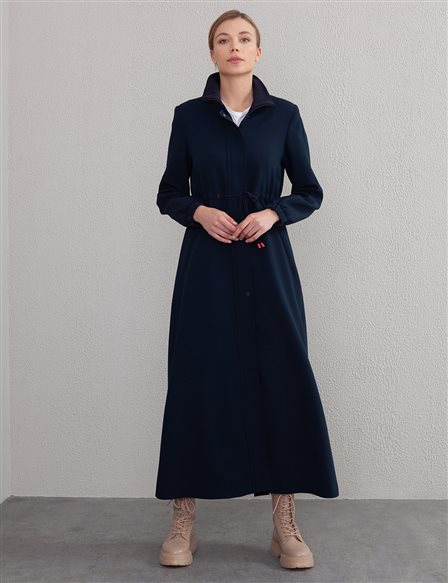 Gathered Trench Coat Blue A20 25119 Navy