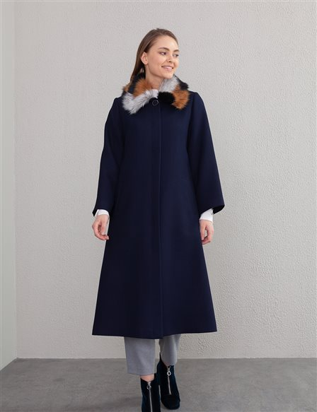 Fur Detailed Coat A20 17036 Navy