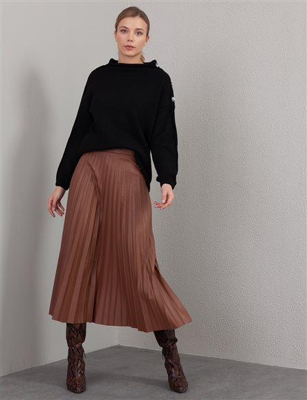 Pleated Leather Skirt A20 12038A Light Brown