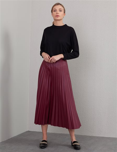 Pleated Leather Skirt A20 12038A Cherry