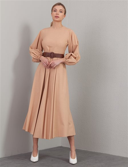 Belted Balloon Sleeve Long Dress A20 23169 Orange Yellow