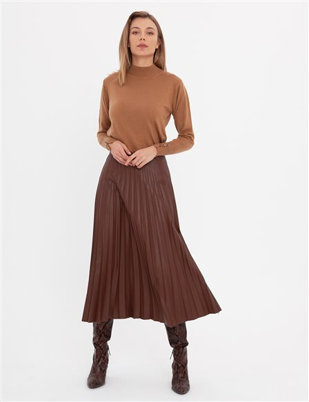 Pleated Leather Skirt A20 12038A Brown