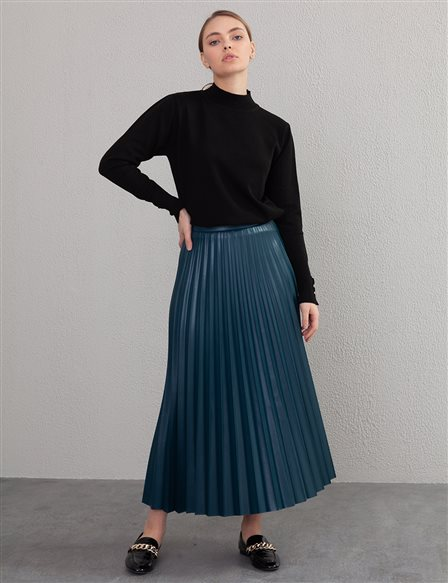 Pleated Leather Skirt A20 12038A Petrol