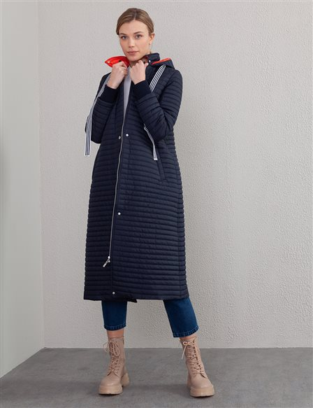 Zigzag Patterned Quilted Anorak A20 27100A Navy