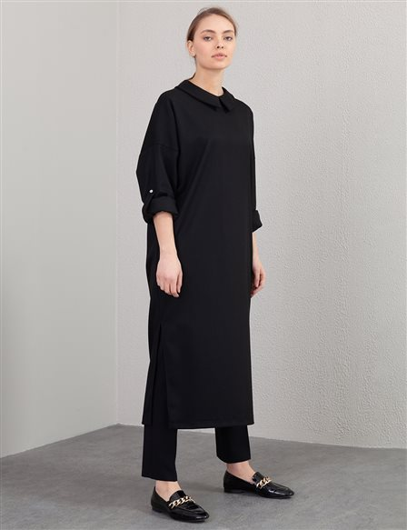Slit Long Tunic A20 21107 Black