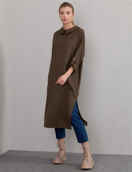 Slit Long Tunic A20 21107 Khaki