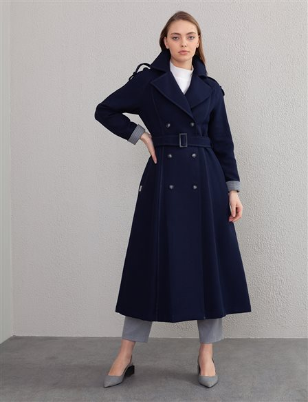 Double Breasted Buttoned Gabardine Trench Coat A20 14046 Navy