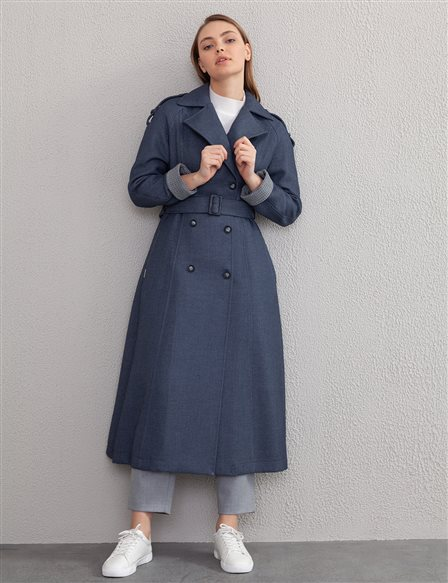Double Breasted Buttoned Gabardine Trench Coat A20 14046 Indigo