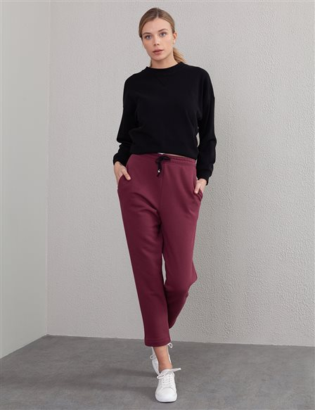 Casual Fit Pants A20 19240 Burgundy