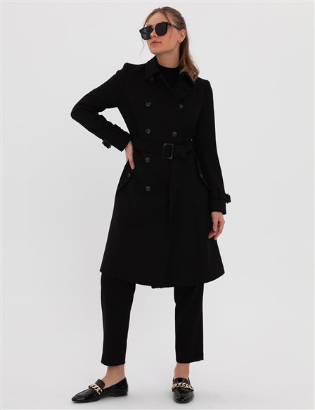 Double Breasted Buttoned Trench Coat A20 14045 Black