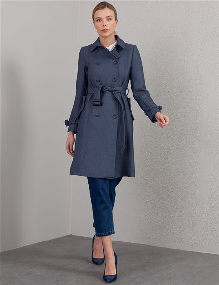 Double Breasted Buttoned Trench Coat A20 14045 Indigo