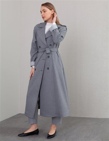 Gingham Double Breasted Trench Coat A20 14047 Grey
