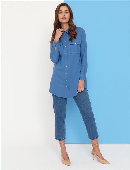 Contrast Stitched Double Pocket Tunic B21 21251 Indigo