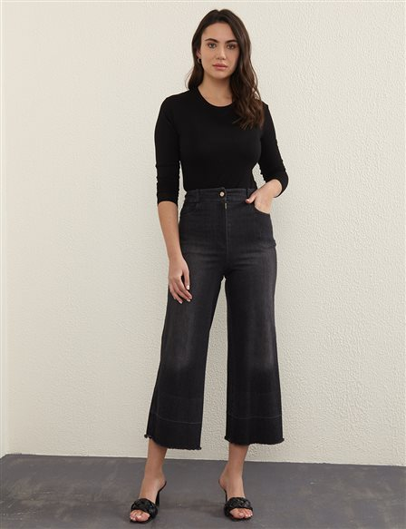 Tassel Detailed Denim Pants B21 19077A Black
