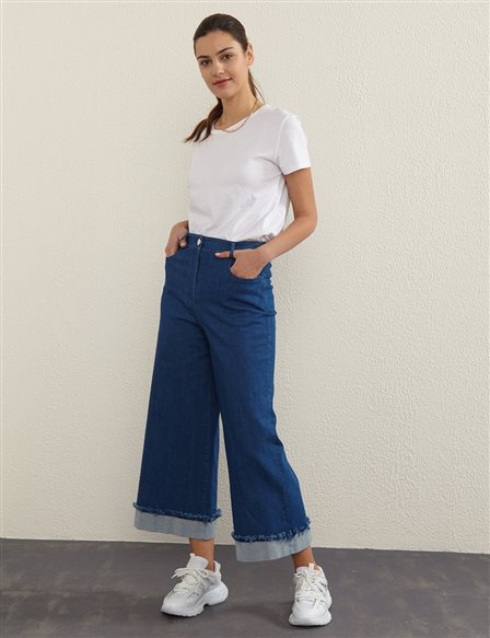 Folded Hem Denim Pants B21 79028 Navy Blue