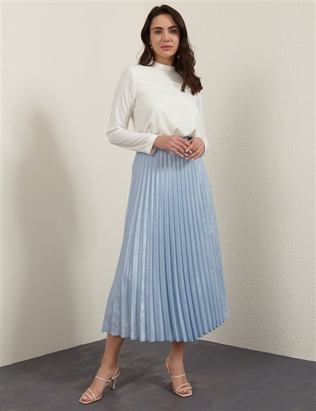 Silvery Jacquard Pleated Skirt B21 12001 Blue