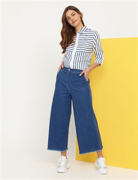 KYR Tasseled Wide Leg Denim Pants B21 79027 Navy Blue