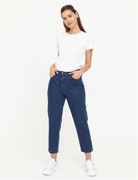 Basic Mom Jeans B21 19079A Navy