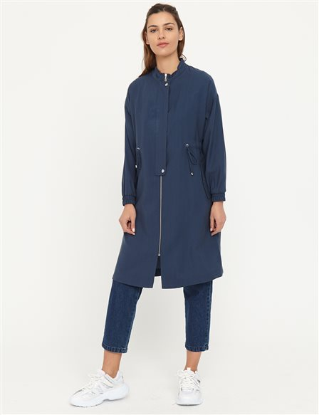 Gathered Waist Trench Coat B21 14003 Navy