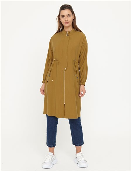Gathered Waist Trench Coat B21 14003 Green