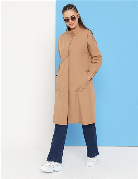 Snap Fastener Grandad Collar Trench Coat B21 14004 Beige