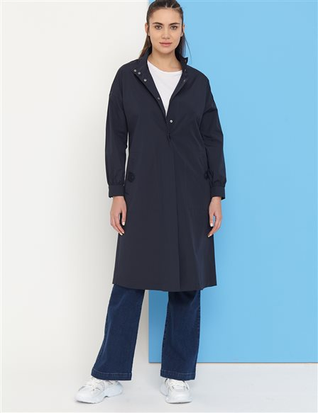Snap Fastener Grandad Collar Trench Coat B21 14004 Navy