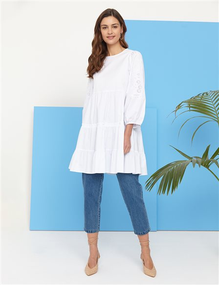 Scalloped Balloon Sleeve Round Neck Tunic B21 21024 White