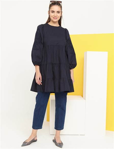Scalloped Balloon Sleeve Round Neck Tunic B21 21024 Navy