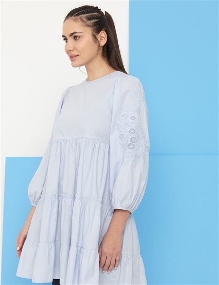 Scalloped Balloon Sleeve Round Neck Tunic B21 21024 Light Blue