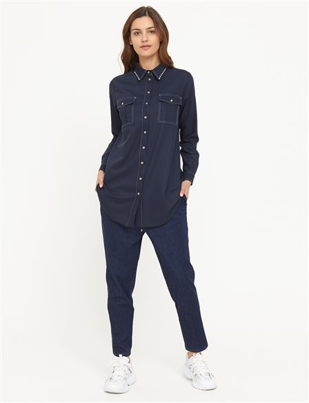 Contrast Stitched Double Pocket Tunic B21 21251 Navy