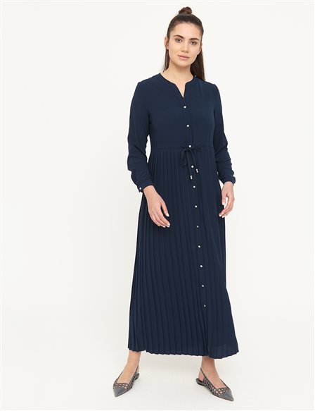 Round Neck Dress With Pleated Skirt B21 23010 Navy