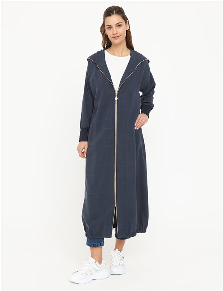 Hooded Long Trench Coat B21 25005 Navy