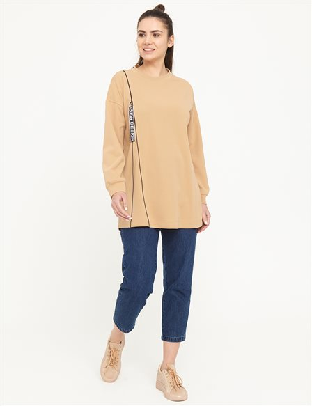 KYR Zipper Detailed Round Neck Sweat B21 70007 Beige