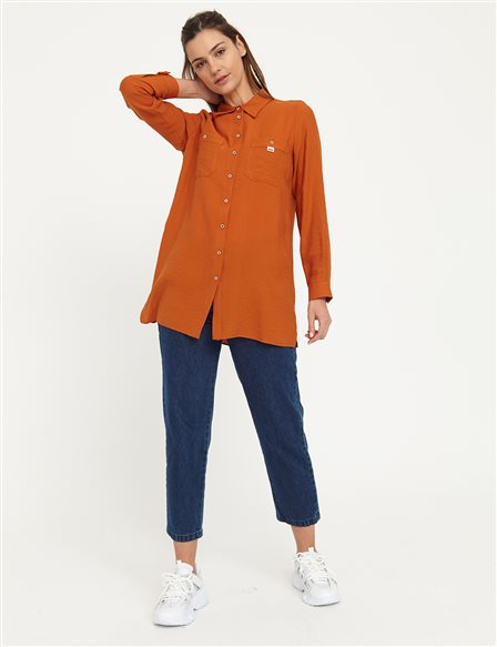 KYR Shirt With Contrast Buttons Double Pockets B21 71002 Tile