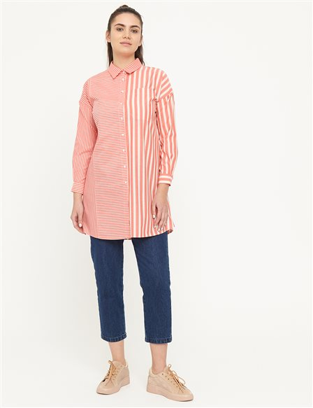 KYR Striped Tunic with One Pocket B21 81006 Pomegranate
