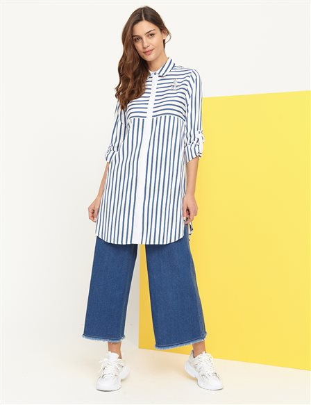 KYR Hidden Button Striped Tunic B21 81015 White-Blue